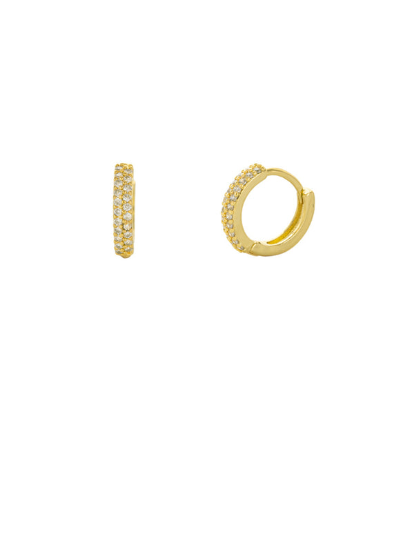 Pave CZ Huggie Hoops | Gold or Silver Fashion Earrings | light Years