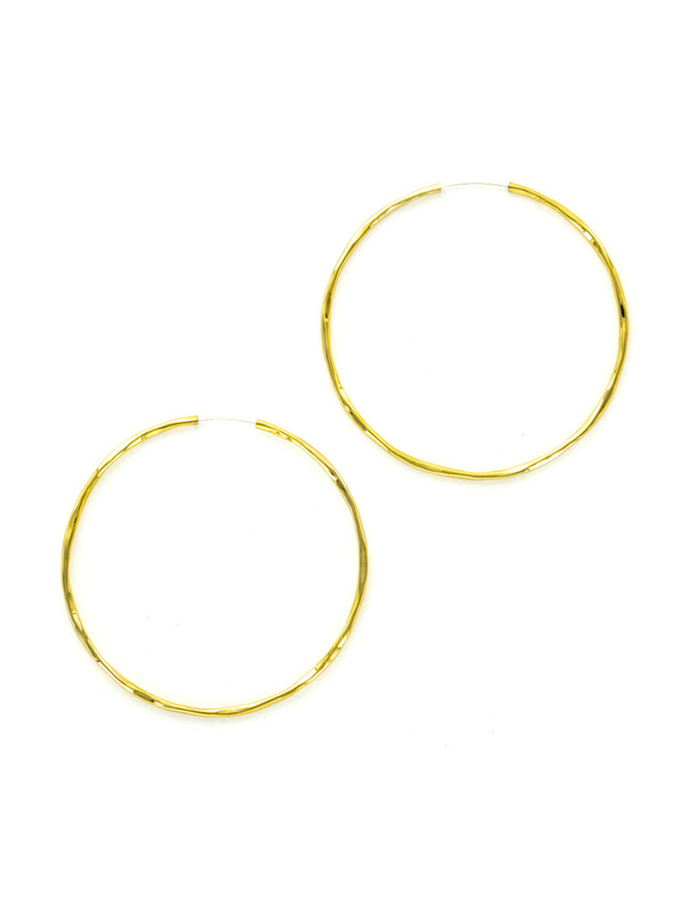 Hammered Endless Hoops | Gold or Silver Earrings | Light Years Jewelry