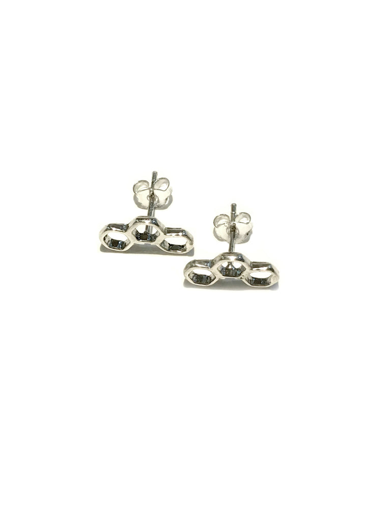 Honey Comb Posts | Sterling Silver Studs Earrings | Light Years Jewelry