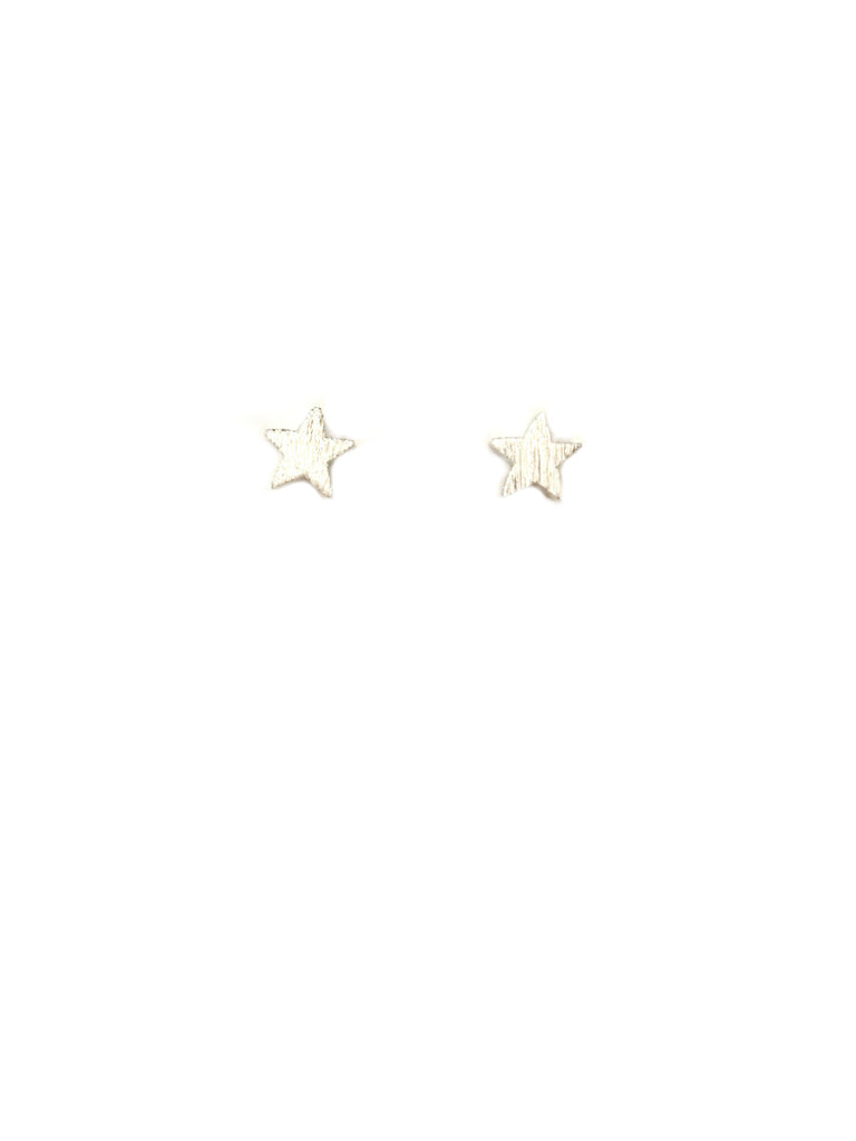 Brushed Star Posts | Gold Silver Plated Studs Earrings | Light Years