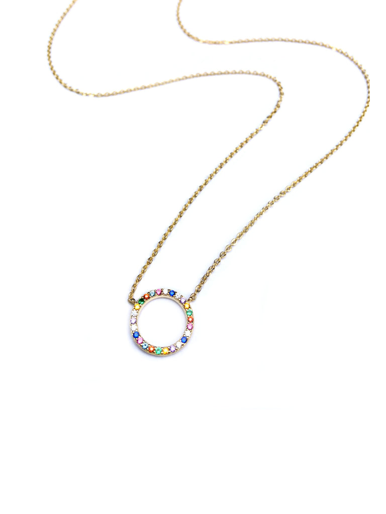 Rainbow Circle Necklace | Gold Plated CZ Chain | Light Years Jewelry