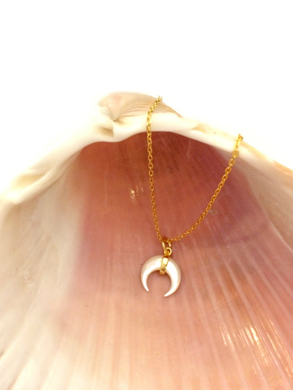 Mother of Pearl Horn Necklace | Gold Sterling Silver | Light Years