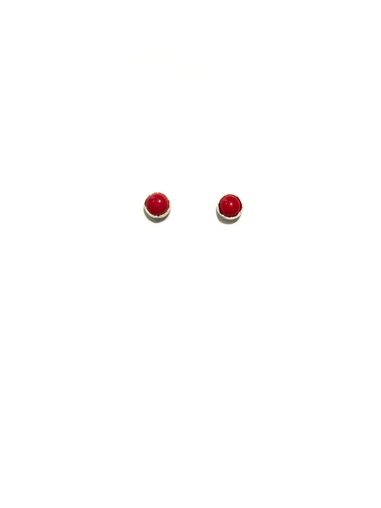 3mm Stone Studs | Red Coral | Sterling Silver Posts Earrings | Light Years Jewelry