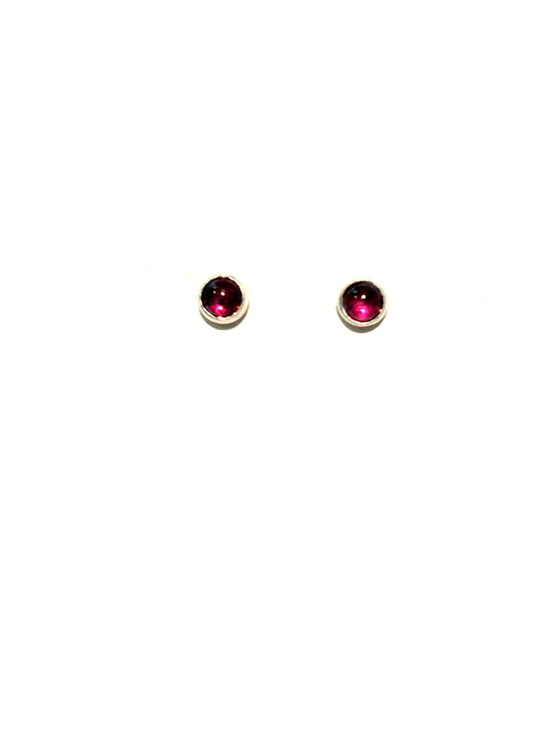 3mm Stone Studs | Garnet | Sterling Silver Posts Earrings | Light Years Jewelry