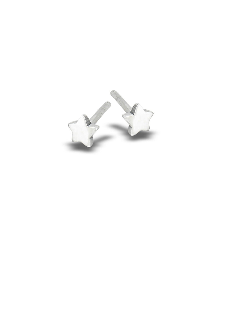 Tiny Polished Star Studs | Sterling Silver Posts Earrings | Light Years