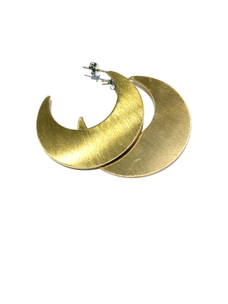 Crescent Moon Hoops | Brass Celestial Posts Earrings | Light Years