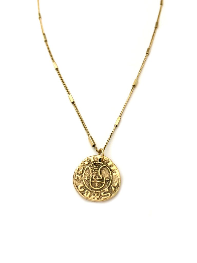 Medieval Coin Necklace | Brass Pendant Chain | Light Years Jewelry