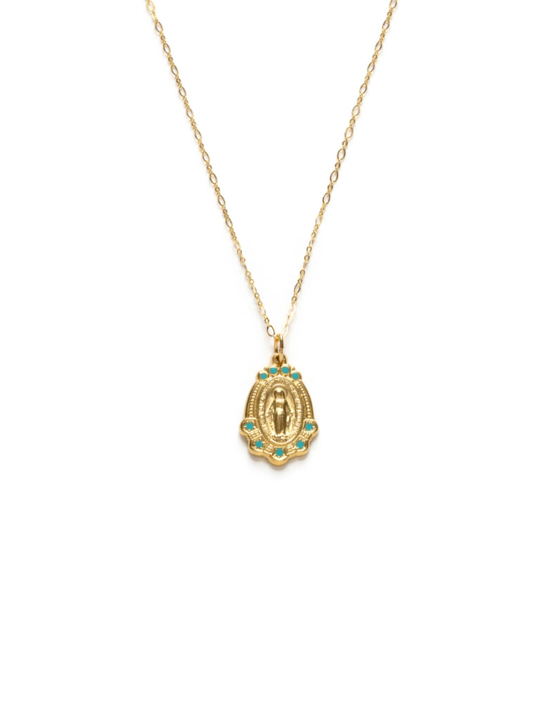 Our Lady Mary Medallion Necklace | Gold Plated Chain Pendant | Light Years