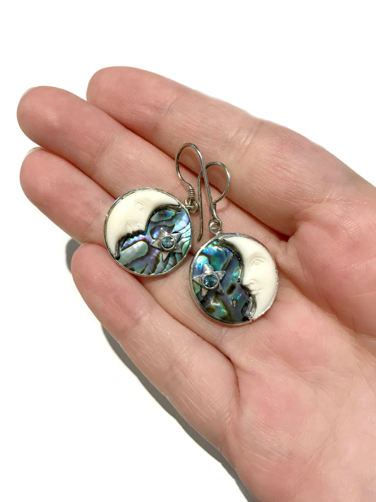 Abalone Crescent Moon Dangles | Sterling Silver Earrings | Light Years