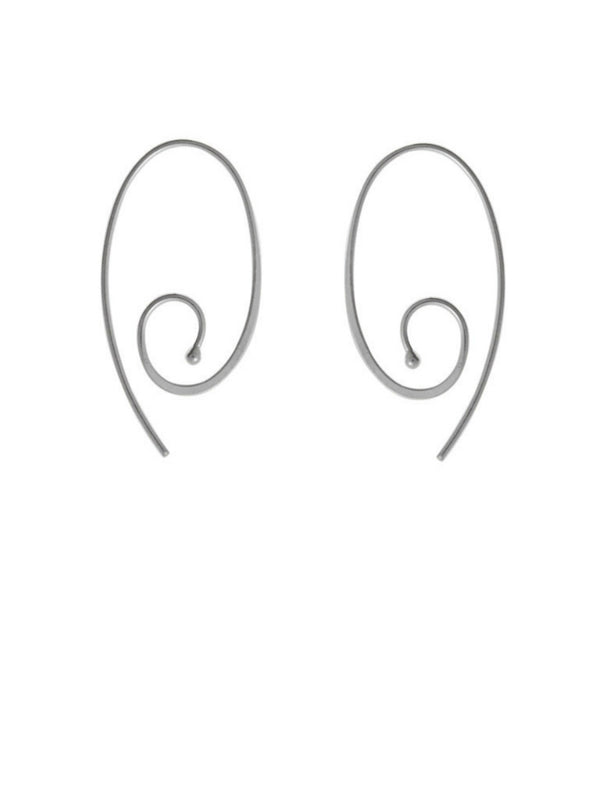 Oval Swirl Earrings | Sterling Silver Hoops Dangles | Light Years