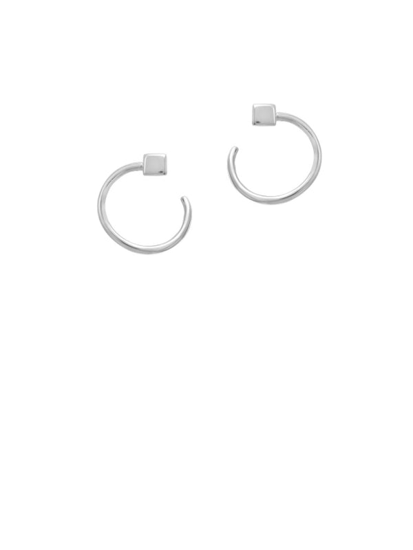 Cube & Circle Posts | Sterling Silver Studs Earrings | Light Years