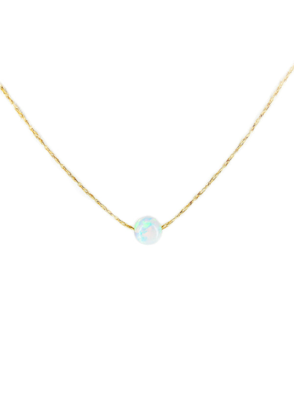 Opal Ball Sphere Necklace | Gold Plated Chain | Light Years Jewelry