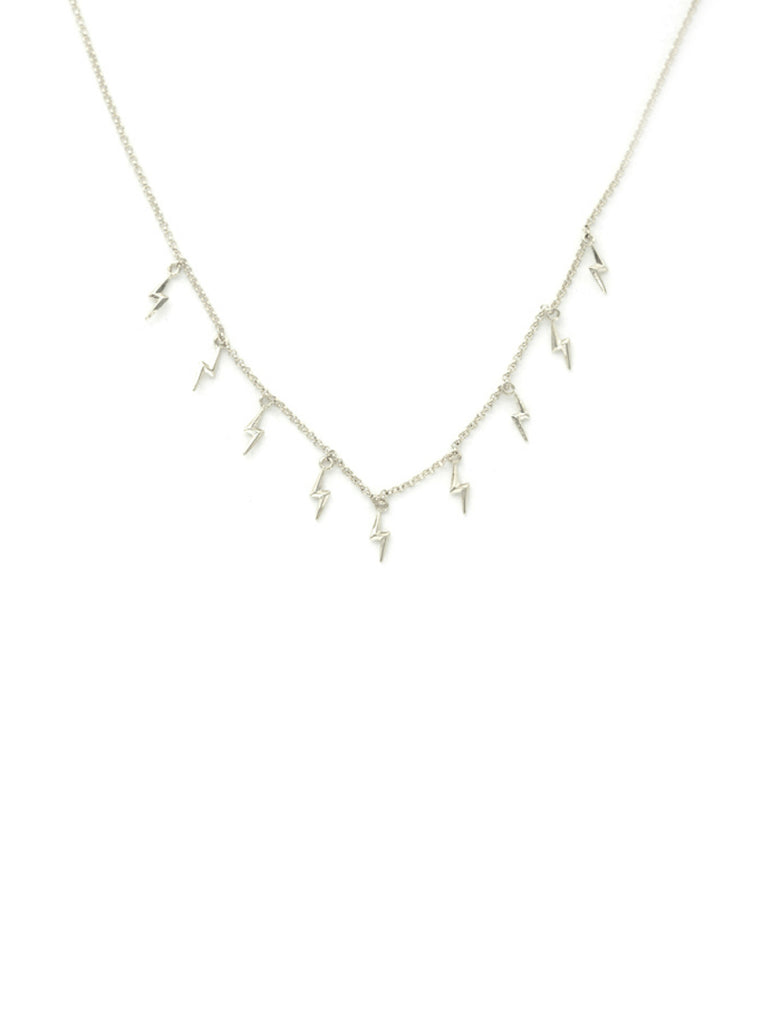 Lightning Bolt Charm Choker Necklace | Silver Plated Chain | Light Years