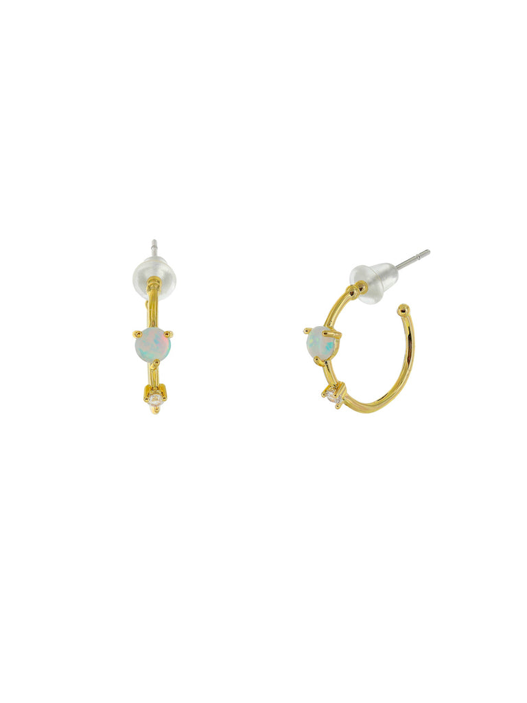White Opal & CZ Posts Hoops | Gold Plated Studs Earrings | Light Years