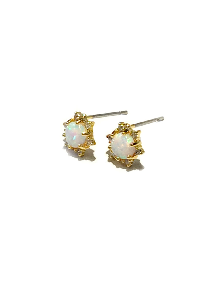 White Opal & CZ Star Posts | Gold Plated Studs Earrings | Light Years