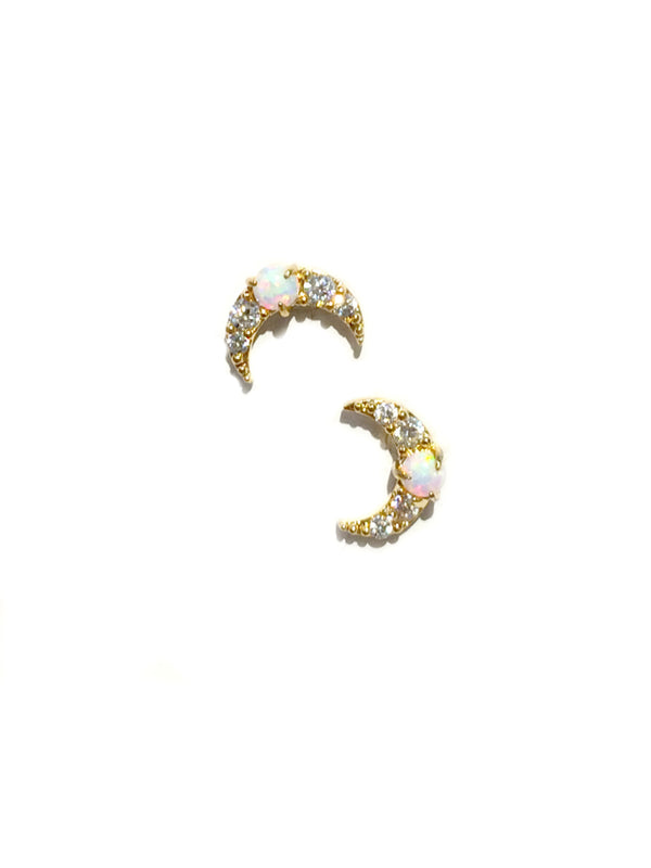 Opal CZ Crescent Moon Posts | Silver Gold Stud Earrings | Light Years