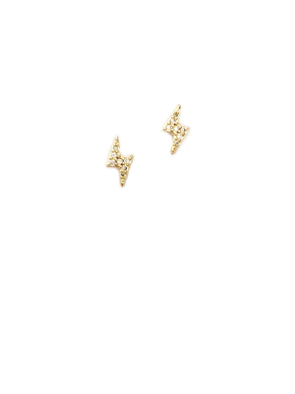 CZ Lightning Bolt Posts | Gold Plated Studs Earrings | Light Years