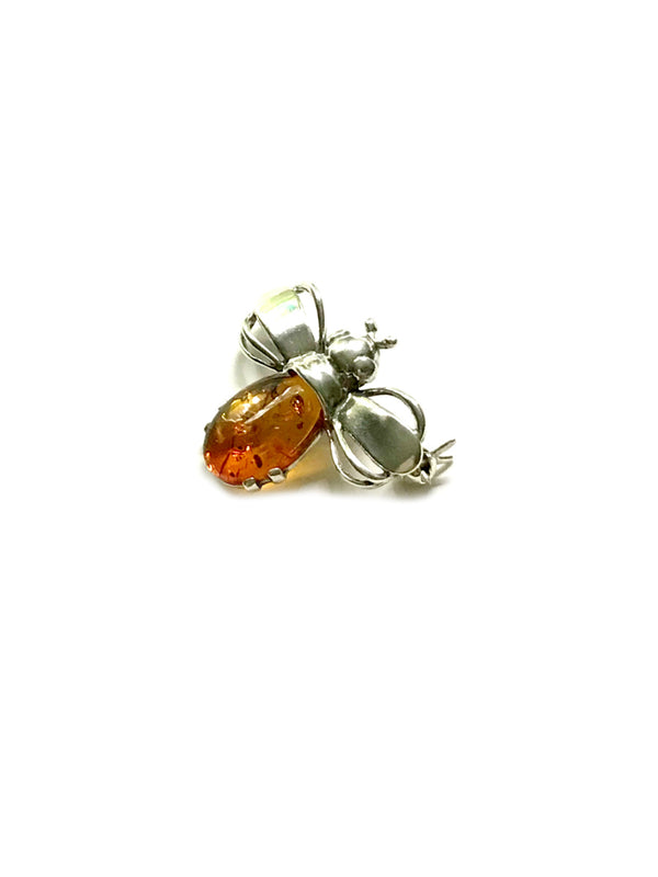 Baltic Amber Honey Bee Pin | Sterling Silver Brooch | Light Years Jewelry