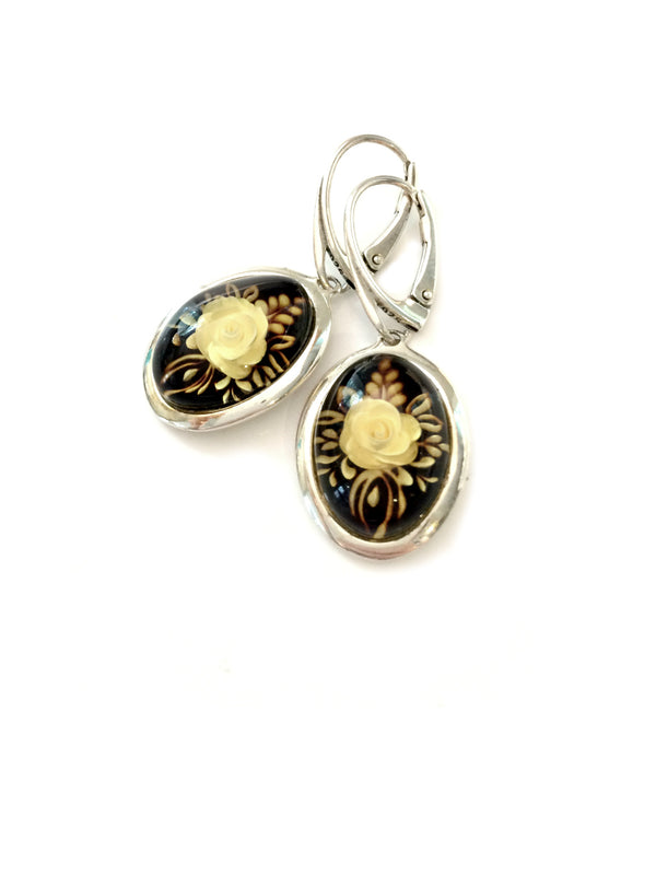 Floral Amber Reverse Intaglio Earrings | Sterling Silver | Light Years