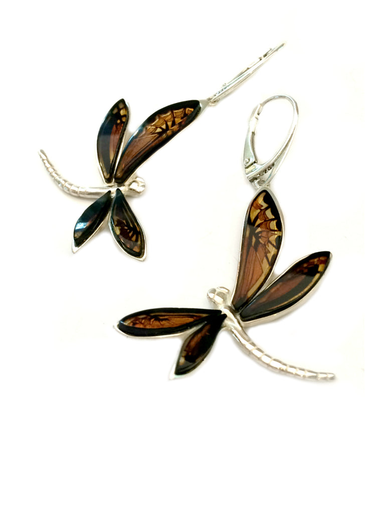 Reverse Carved Amber Dragonfly Earrings | Sterling Silver | Light Years