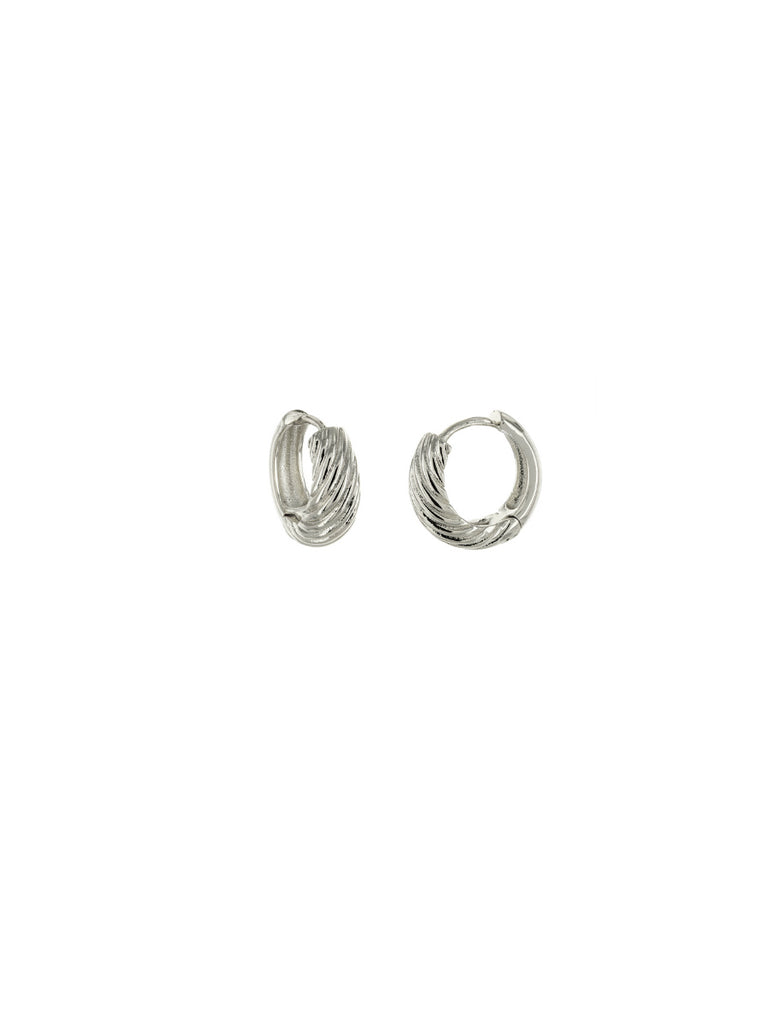 Thick Twisted Huggie Hoops | Silver Plated Trendy Earrings | Light Years