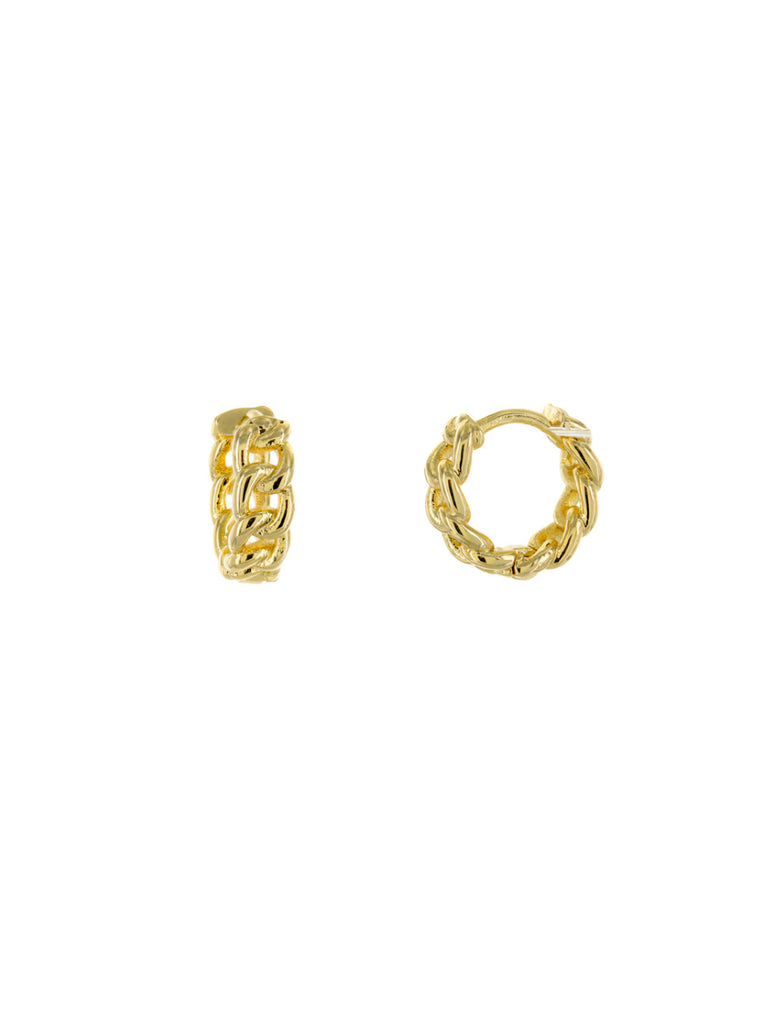 Chain Link Huggie Hoops | Silver Gold Plated Earrings | Light Years