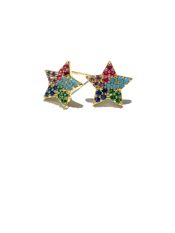 Rainbow CZ Sparkle Star Studs | Gold Silver Posts | Light Years Jewelry
