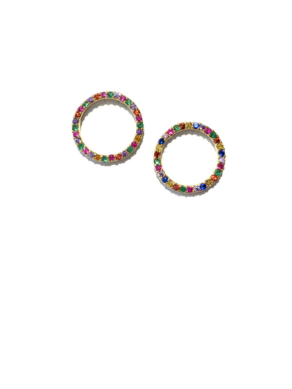 Rainbow CZ Ring Circle Posts | Gold Silver Plated | Light Years Jewelry