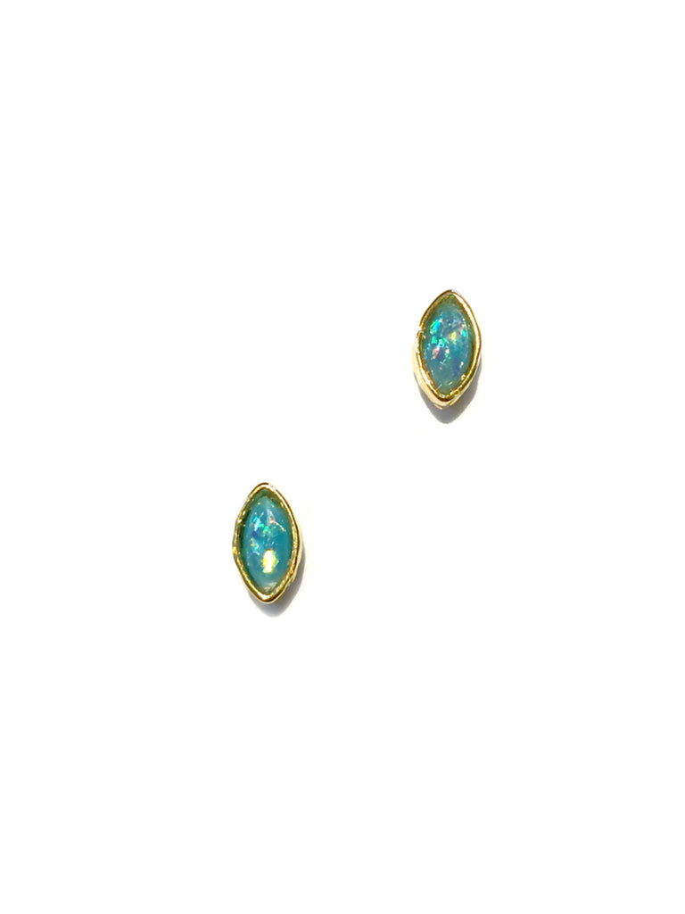 Opalescent Blue Marquis Posts | Gold Silver Studs Earrings | Light Years