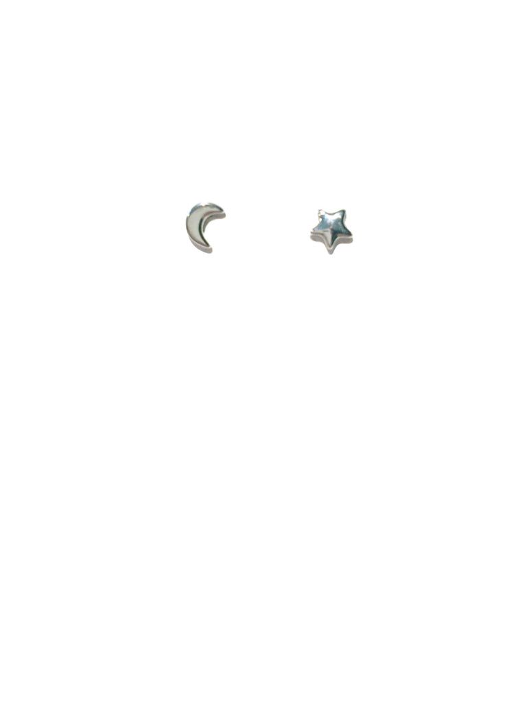 Small Moon & Star Posts | Silver Rose Gold Studs | Light Years Jewelry