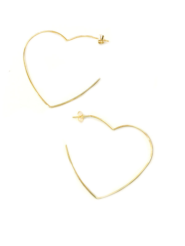 Heart Post Hoops | Silver Gold Plated Stud Earrings | Light Years