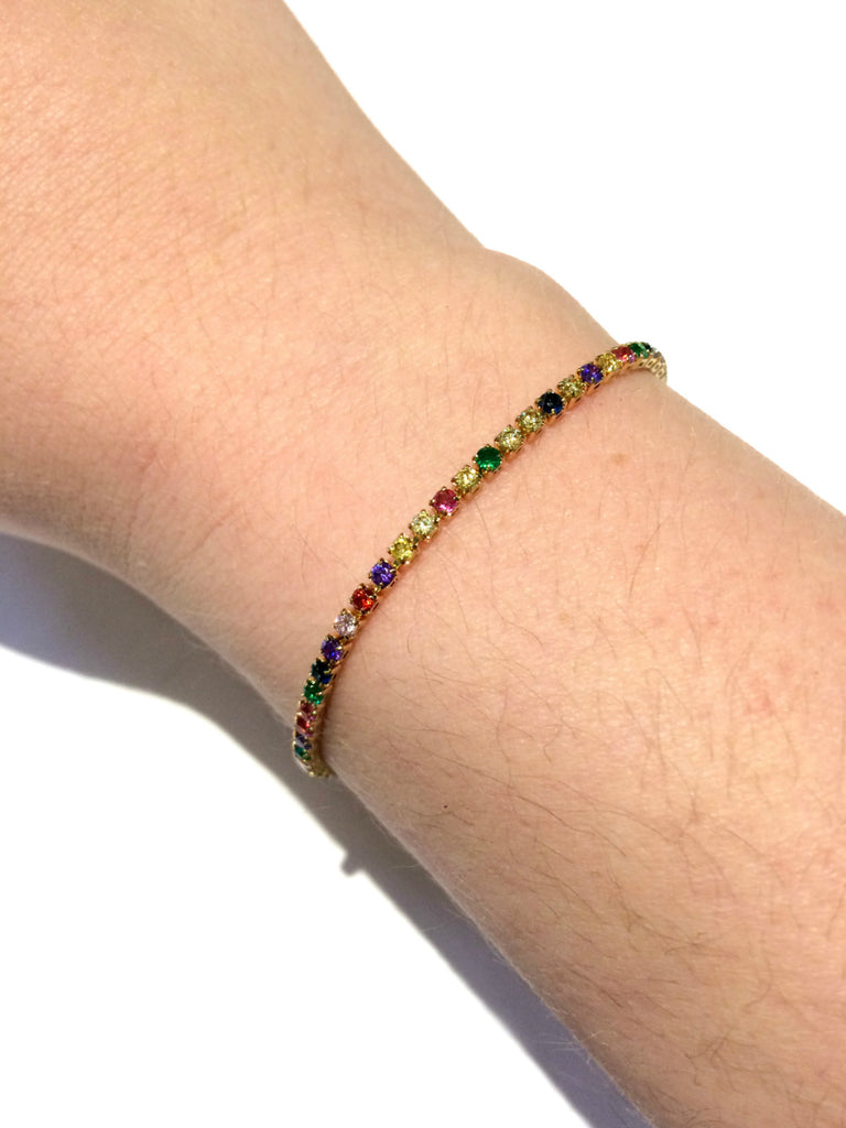 Rainbow Sparkles CZ Pull Bracelet | Gold Silver Plated | Light Years
