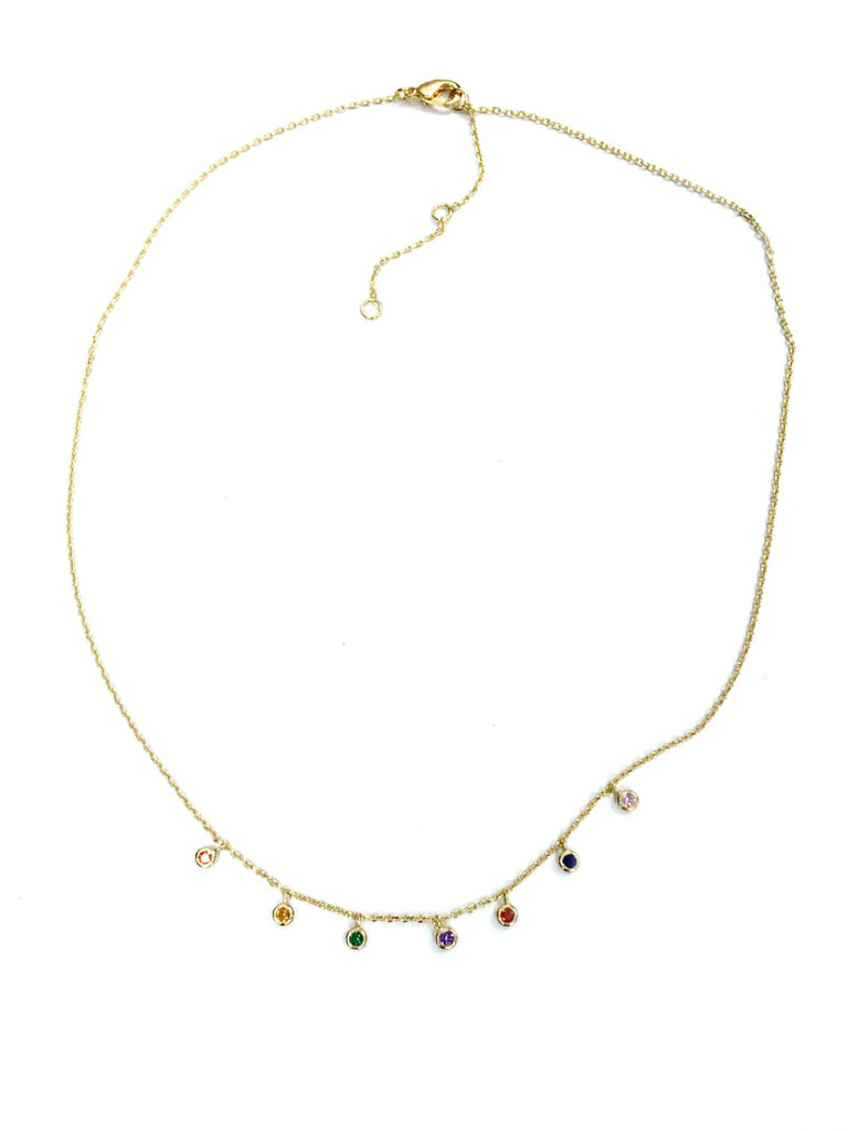 Floating Rainbow CZ Necklace | White Gold Silver Plated | Light Years