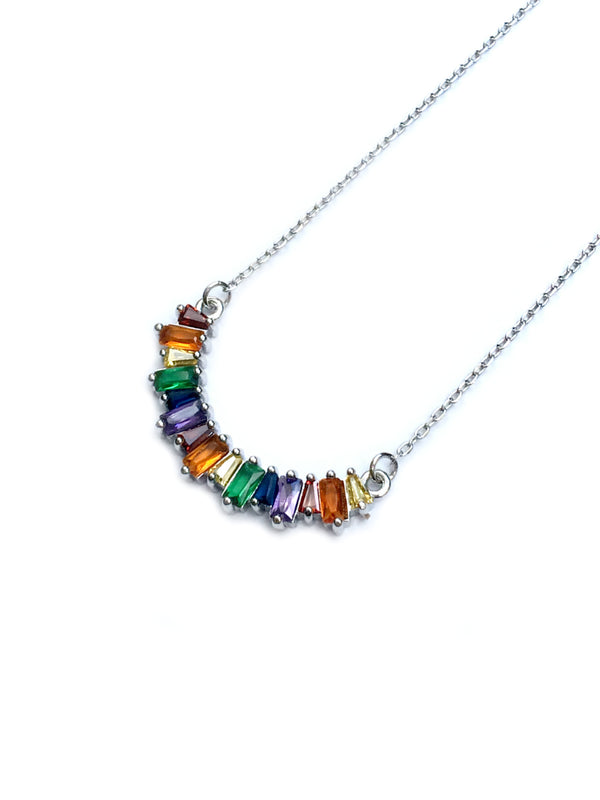 Curve Rainbow CZ Baguette Necklace | White Gold Silver Plated | Light Years