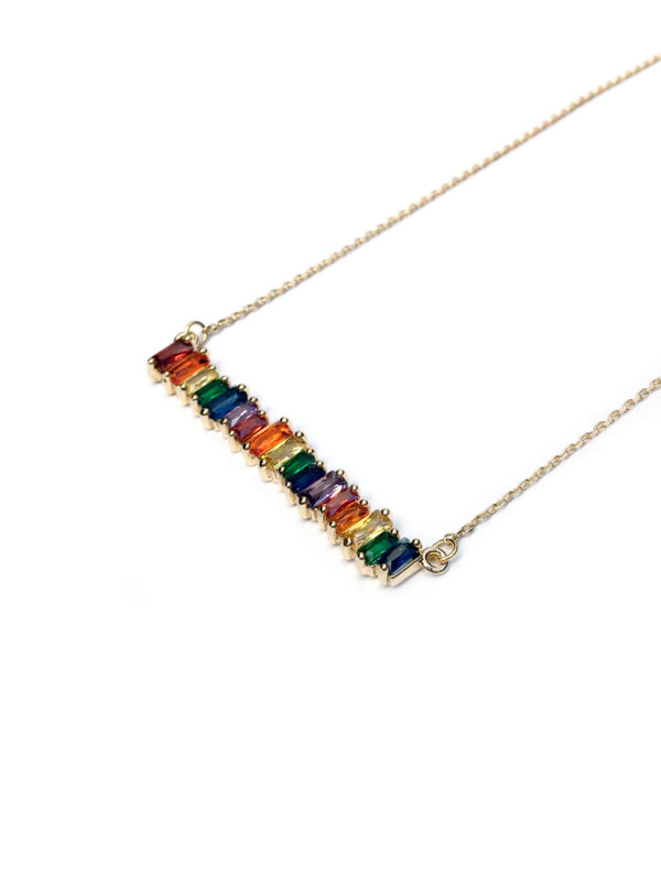 Rainbow CZ Baguette Bar Necklace | White Gold Silver Plated | Light Years