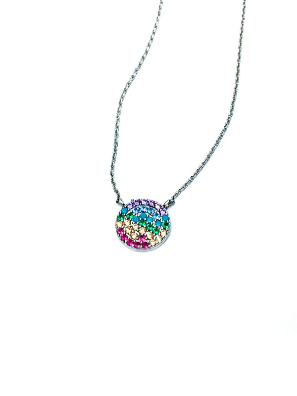 Rainbow Pave Disc Necklace | White Gold Silver Plated | Light Years