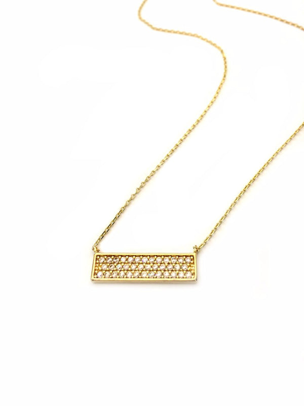 Pave Set Clear CZ Bar Necklace | Silver Gold Plated Chain | Light Years