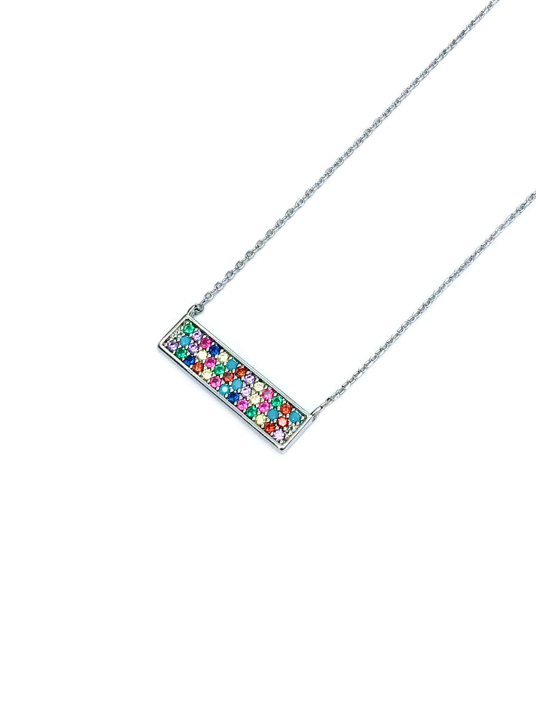 Rainbow CZ Pave Bar Necklace | White Gold Silver Plated | Light Years