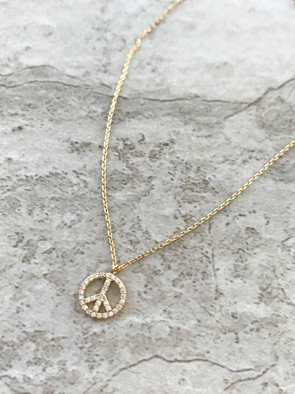 Clear CZ Peace Sign Choker Necklace | Gold Plated | Light Years Jewelry