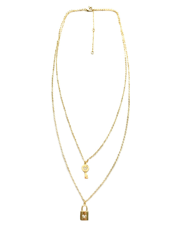 Layered Lock & Key Necklace | Gold Plated Chain Pendant | Light Years