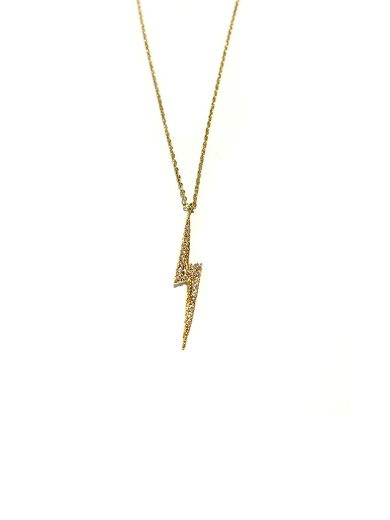 CZ Lightning Bolt Choker Necklace | Gold Silver Plated | Light Years