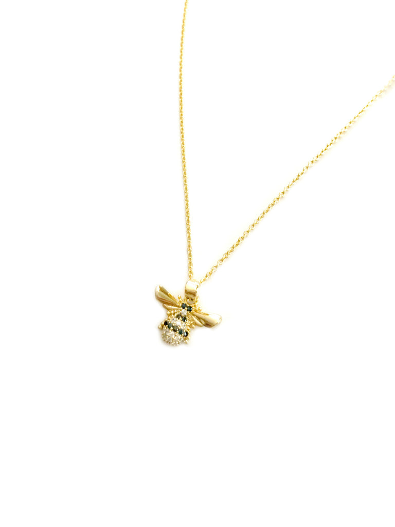 CZ Bee Choker Necklace | Gold Plated Pendant Chain | Light Years Jewelry