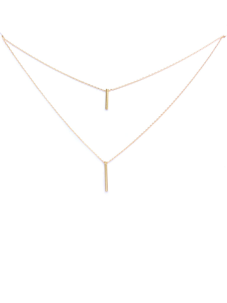 Layered Bars Necklace | Gold Silver Plated Chain | Light Years Jewelry