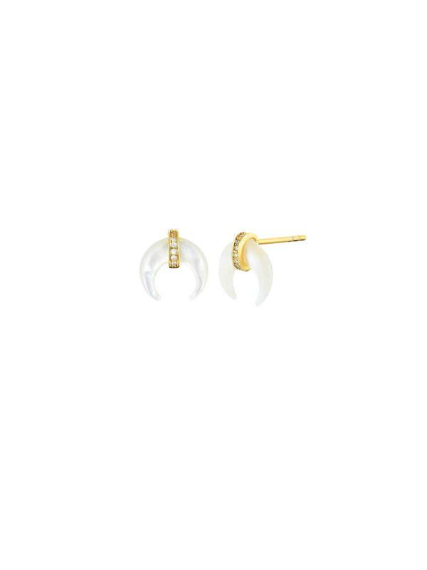 Mother of Pearl Crescent Posts | Gold Vermeil Studs Earrings | Light Years