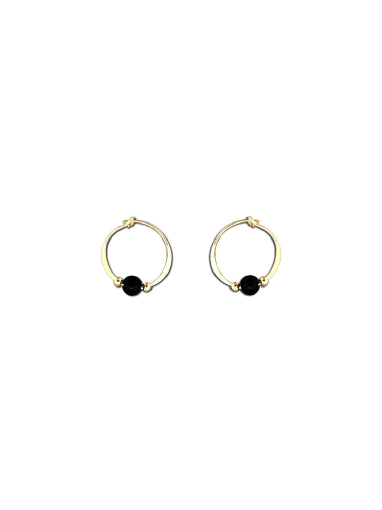 Onyx Beaded Hoops | 14kt Gold Filled Earrings | Light Years Jewelry