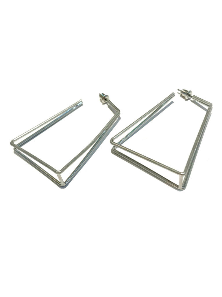 Trapeze Post Hoops | Silver Fashion Earrings | Light Years Jewelry