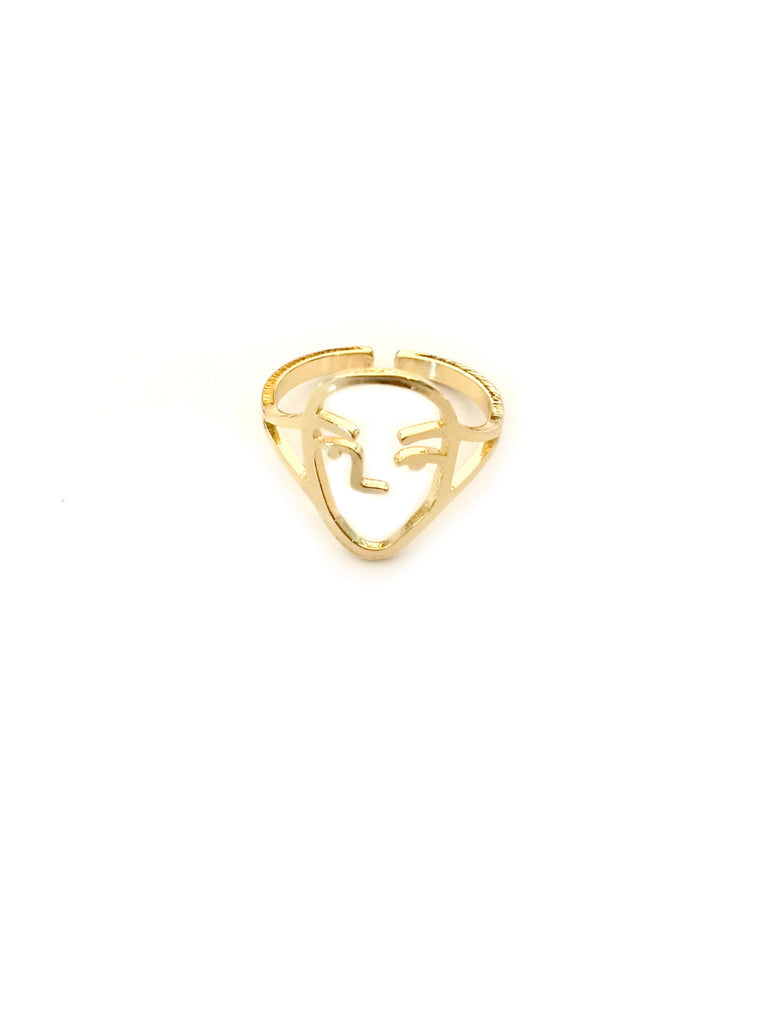 Face Outline Ring | Adjustable Gold Silver Plated | Light Years Jewelry