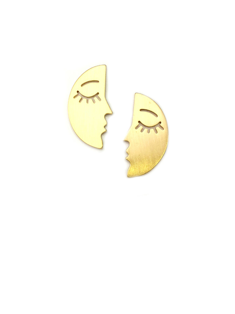 Crescent Moon Face Posts | Gold Silver Plated | Light Years Jewelry