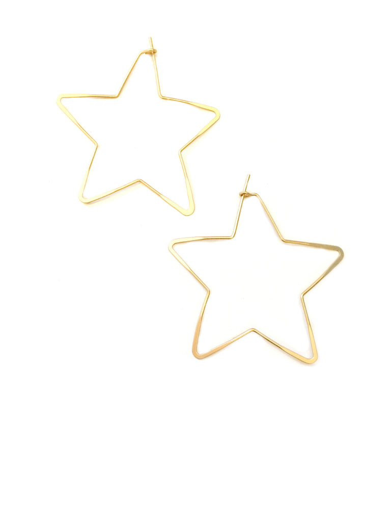 Matte Star Hoops | Gold Plated Celestial Earrings | Light Years Jewelry