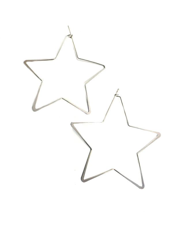Silver Star Hoops | Silver Plated Celestial Earrings | Light Years